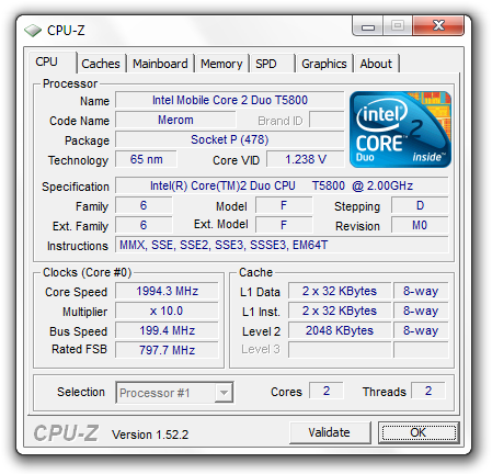 Dell Studio Core 2 Duo CPU
