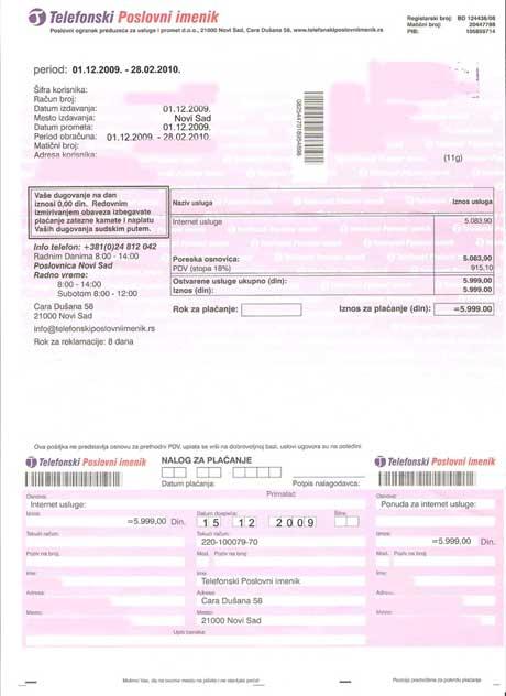 Lažni računi -Telekom Srbija: Poslovni imenik