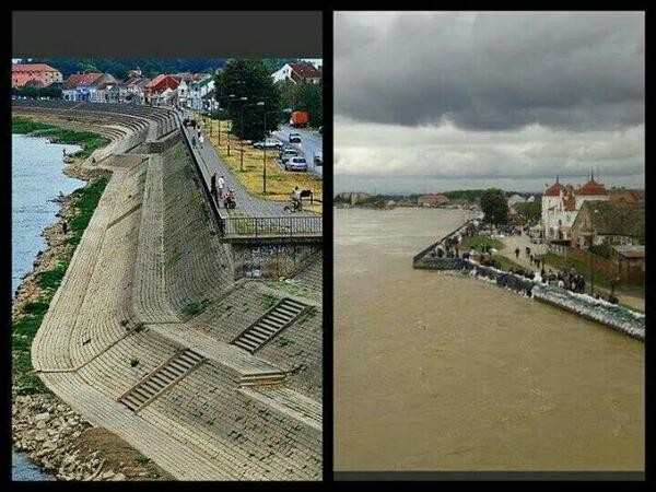 Mitrovački kej, pre i posle popalve